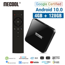 MECOOL TV Box KM3 con Android 10,0, decodificador con DDR4 de 4 GB, 128 GB, 64 GB de ROM, Amlogic S905X2, wi fi 2,4 GHz/5 GHz, 4K, Bluetooth, Control por voz, certificado por Google