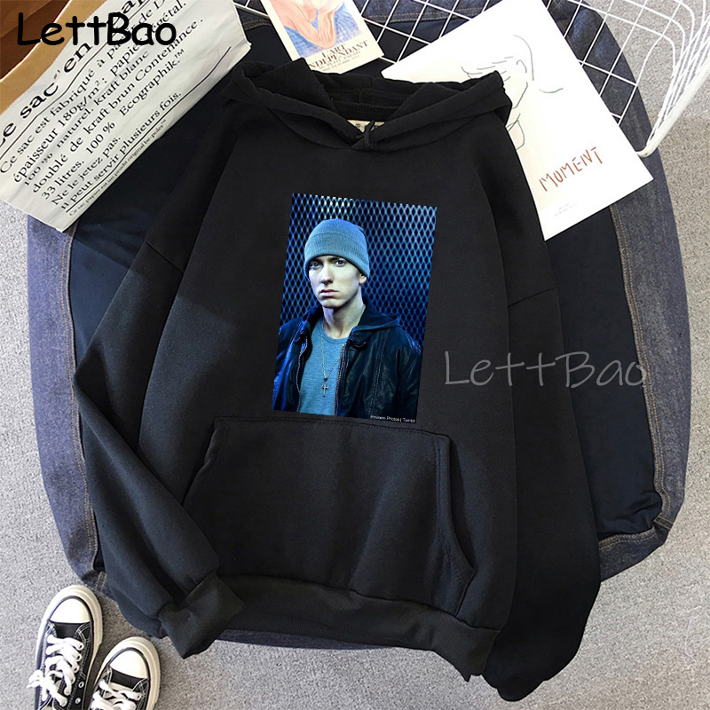 Eminem Cool Black Unisex Hoodies Sweatshirt Hip Hop Rap Punk Style Tops Pullover HipHop Rock Gothic Winter Coat Women Men Hoodie 20