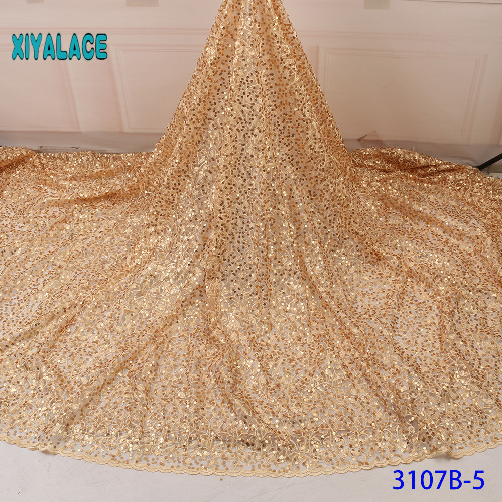 Golden Nigerian African Lace Fabrics 5Yards Lace Fabric High Quality Sequins Lace Fabric For Wedding Dress French Lace YA3107B-5