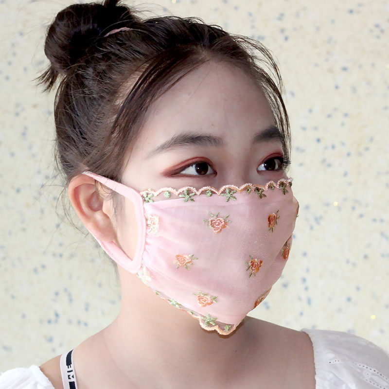 Reusable Mouth Mask Washable Dust Proof Black Face Mask Breathable Super Soft Fashion Design Floral Printed Sunscreen Lace Mask