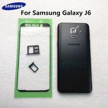 Per Samsung Galaxy J6 2018 J600 J600F SM J600F Alloggiamento Pieno Medio cornice Copertura Posteriore Della Batteria Custodia Con SIM vassoio di carta + adesivo