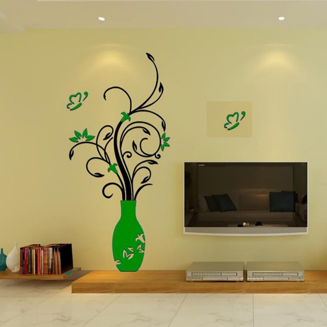 3D Home Decals Decor DIY Fashion 3D Vase Flower Tree Crystal Arcylic Wall Stickers Decal Home Room Indoor Decor Wall Stickers 4