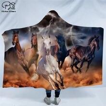 Одеяло с капюшоном аниме лошадью для взрослых цветное детское