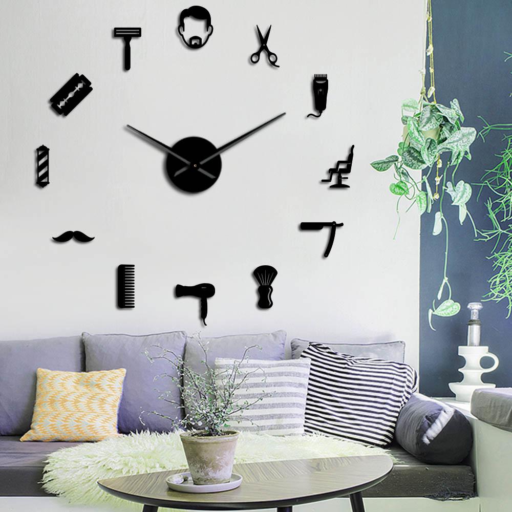 Framless Male Barber Shop Acrylic Simple 3D DIY Wall Clocks Hair Stylist Hair Salon Decor Quiet Sweep Mirror Effect Clock Watch
