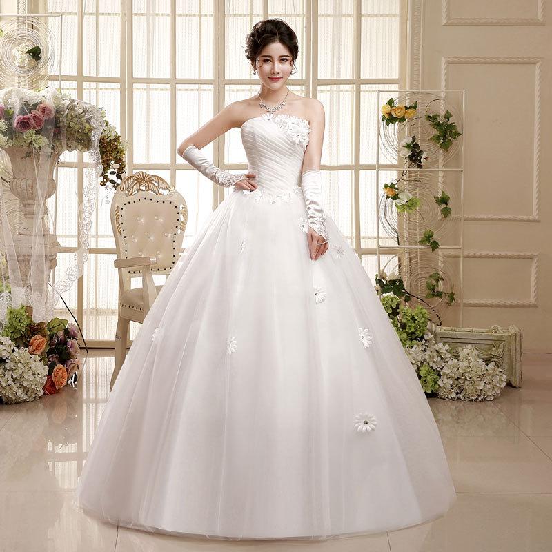 2019 New Korean Strapless Wedding Dresses Bride Plus Size Pregnant Women Ball Gown Dress Wed Dress Wed Vestidos De Casamento