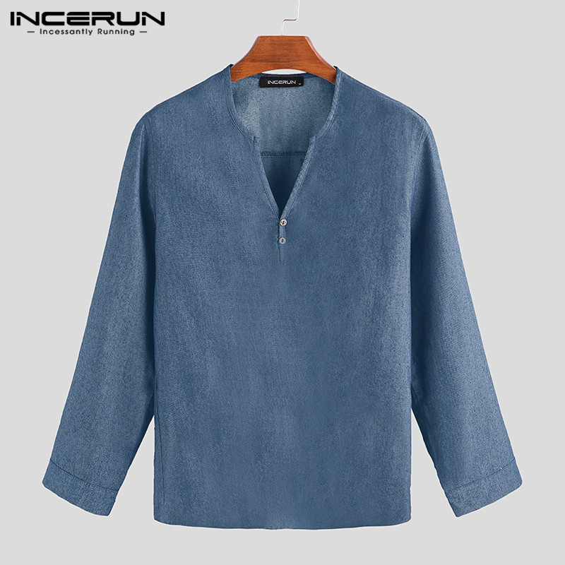 INCERUN Autumn Men Denim Shirt V Neck Stylish Long Sleeve 2019 Fashion Solid Casual Men Brand Shirt Camisa Masculina Streetwear