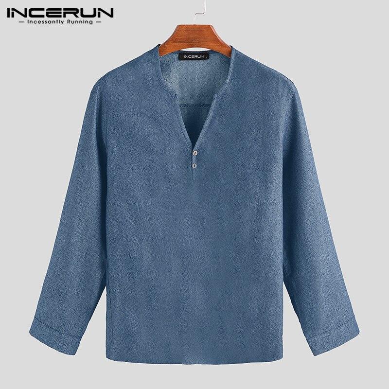 INCERUN Autumn Men Denim Shirt V Neck Stylish Long Sleeve 2020 Fashion Solid Casual Men Brand Shirt Camisa Masculina Streetwear