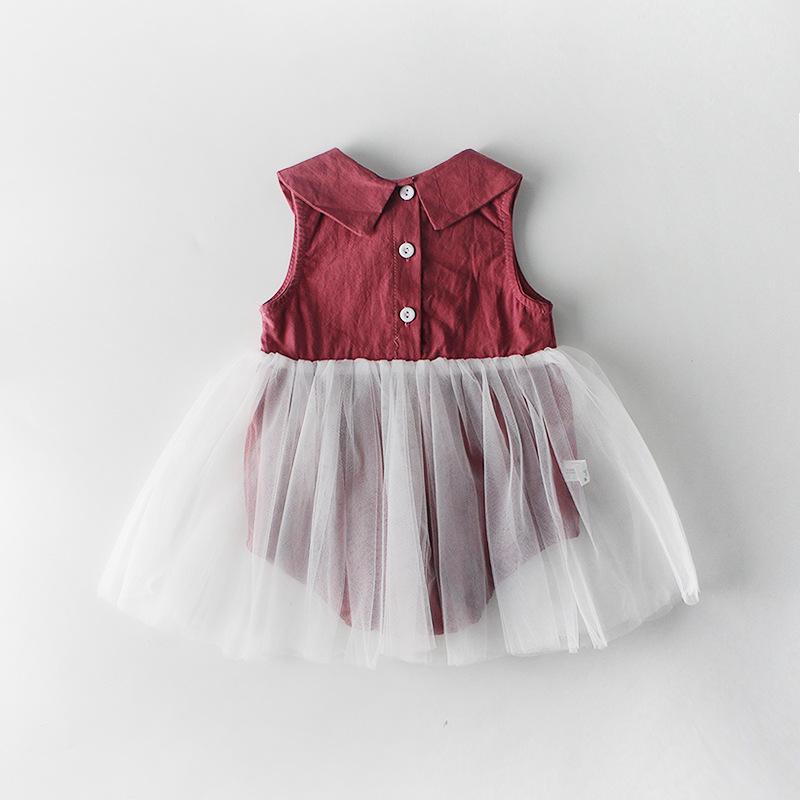 2020 New Style Summer 0-24M Baby Girl Dress Sleeveless Doll Collar Mesh Bodysuits Princess Dress Turn-down Collar 1