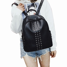 AA Women PU Leather Cute Backpack Rivet Studded Casual Lightweight Daypack Travel Satchel With Large Capacity sweet striped and rivet design women s satchel