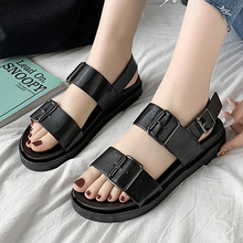 Buckle Strap Black Sandals Women Shoes Summer Open Toe Casual Flat Shoes Classic Platform Sandals Women 2020 Comfort Beach Shoes women sandals flat beach sandals ankle strap cross strap peep toe summer slipper casual shoes breathable fisherman shoes