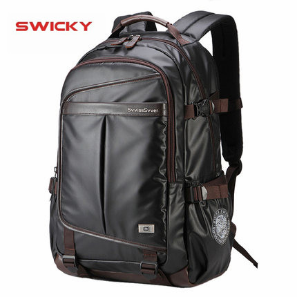 SWICKY multifunction leather backpack male bag fashion waterproof travel business 15.6 inch laptop backpack men image