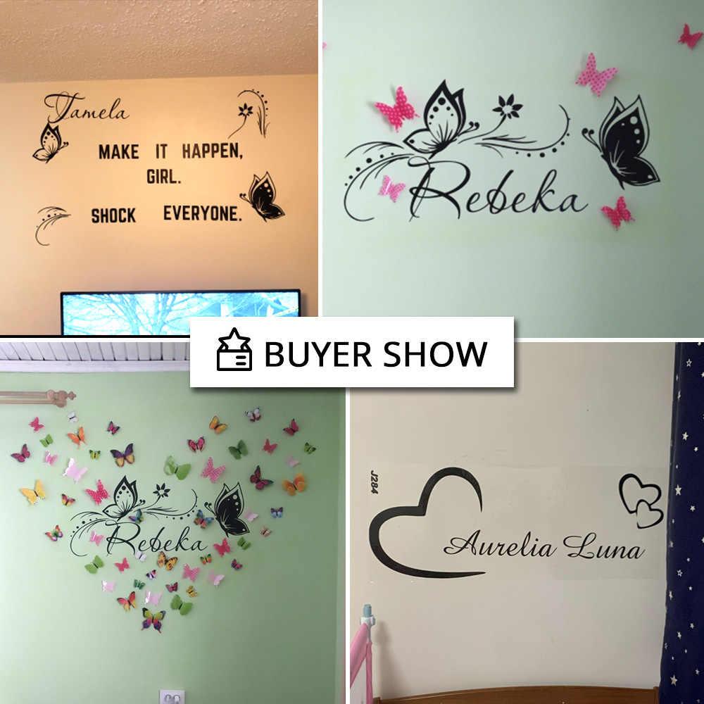 Kişiselleştirilmiş özel adı kelebek duvar Sticker duvar kağıdı kreş çocuk odası dekorasyon vinil çıkartmalar yatak odası çıkartmaları