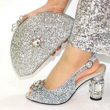 Женские туфли и сумки Стразы высокого качества, серебристые, подходящие к комплекту, Летние Стильные туфли лодочки 10 см, искусственная кожа, для свадьбы, на бретелях