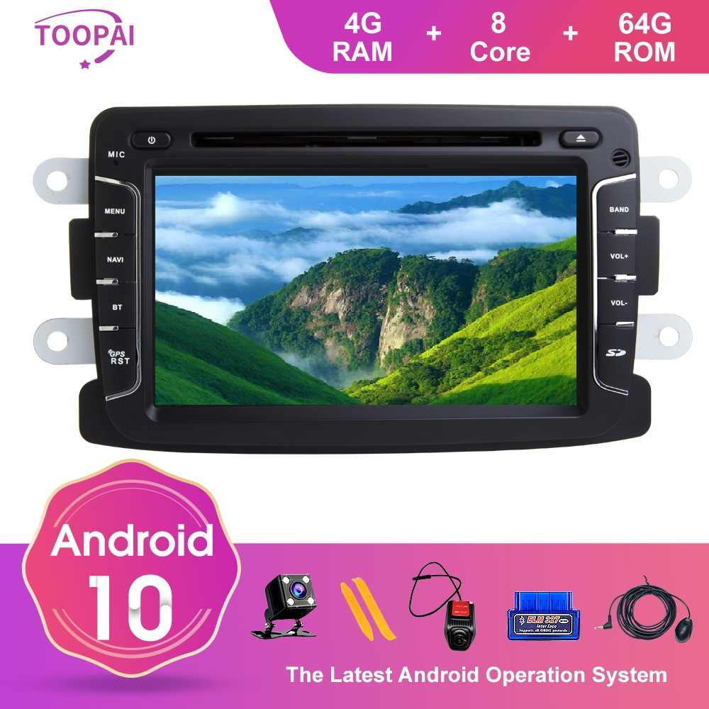 TOOPAI Android 10 Renault Duster Dacia Logan Sandero Xray 2 GPS navigasyon multimedya otomatik FM radyo Stereo kafa ünitesi DVD SWC