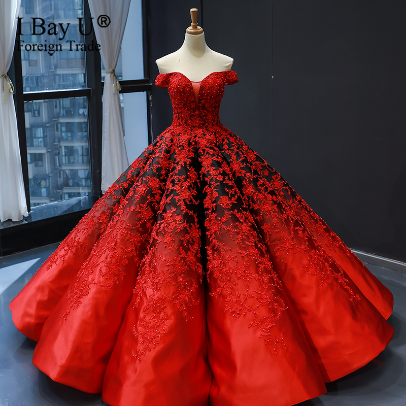Gradient Red Black Satin Wedding Dress Puffy Circle 2020 Lace Appiques Sleeveless Luxury Wedding Gowns Custom Made Wedding Dresses Aliexpress