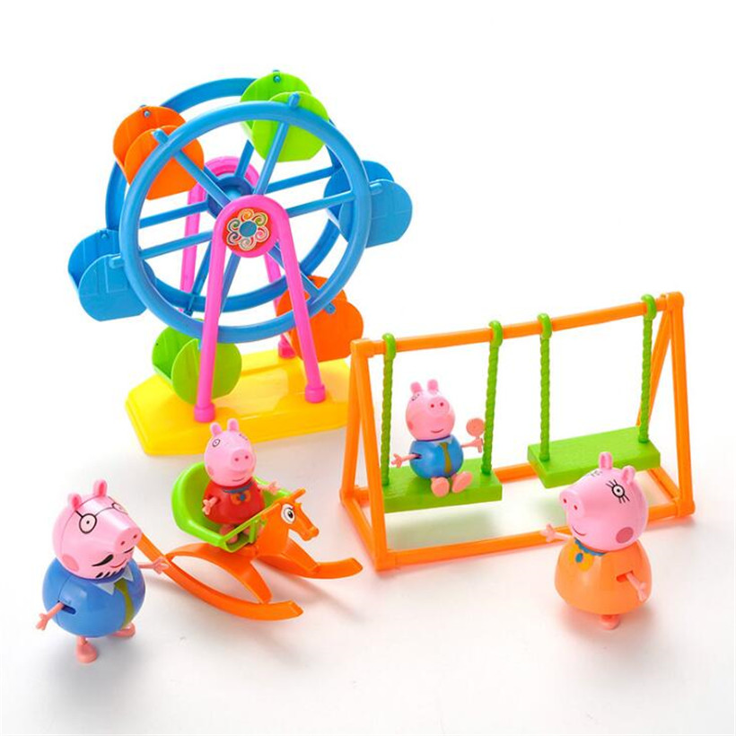 Peppa Pig Family Pack Ferris Wheel Amusement Park Kids Toys Full Role Action Figure Model Pelucia Children Birthday Gifts