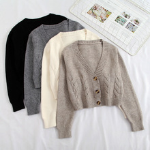Short style high-waisted slim plastic sweater women 2020 spring new single-breasted knitted cardigan twist small jacket