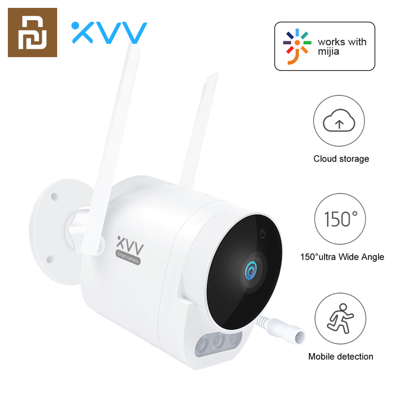 Xiaovv Smart Outdoor Camera Pro 1080P HD WiFi Video Webcam 150° Wide Angle IP65 Infrared Night Vision Add 3PCS LED Warning Light