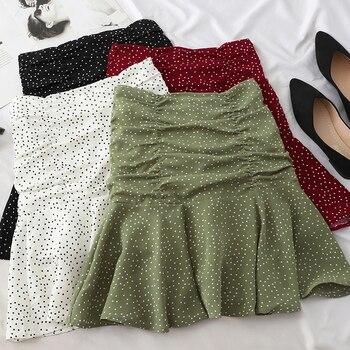 elastic waist scallop hem textured skirt Heliar Skirts Women  Polka Dot Flounce Hem Elastic Waist High Waist A Line Casual Skirt Pleated Mini Skirt For Women 2020 Summer