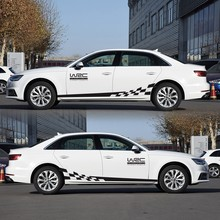 2pcs Car Styling Bandiera A Scacchi Personalità Modificato Autoadesivo Del Corpo di Corsa Pull Fiore Modificato Linea di Cintura Fiore di Tiro di Adesivi