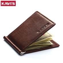 Кошелек KAVIS из натуральной кожи для мужчин и женщин, тонкий складной бумажник двойного сложения, зажим для денег, чехол для денег