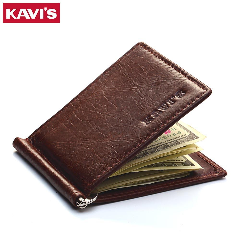 KAVIS marca delgada hombres mujeres cuero genuino Bifold masculino monedero billetera dinero Clip hembra pinza para dinero funda