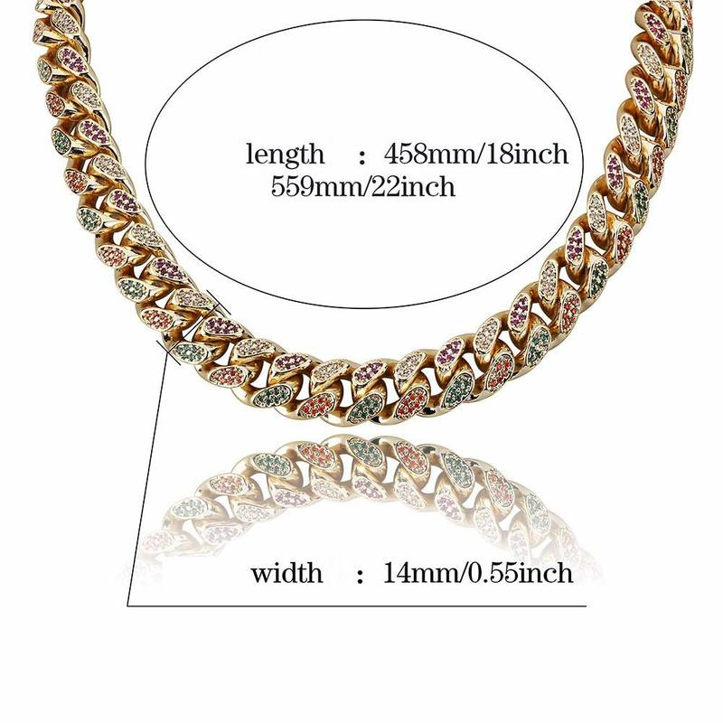 18 22 Inch HipHop Golden Ice Crystal Miami Cuban Chain Gold and Silver Necklace for Men and Women Gifts in Chain Necklaces from Jewelry Accessories