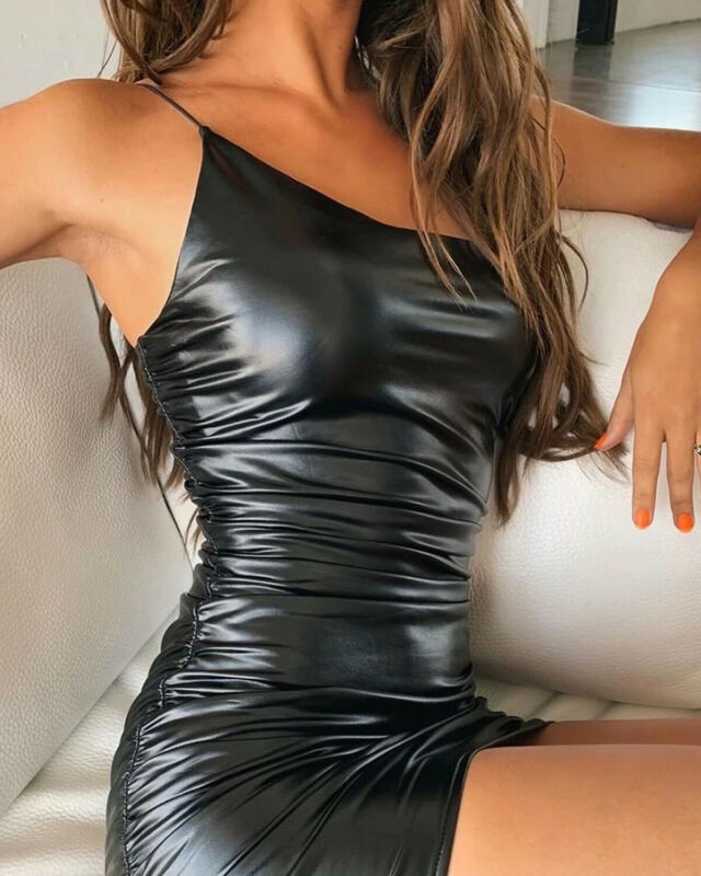 Body-tight <font><b>Leather</b></font> <font><b>Mini</b></font> <font><b>Dress</b></font> <font><b>Women</b></font> Summer Spaghetii Strap Pleated <font><b>Dresses</b></font> New <font><b>Mini</b></font> <font><b>Dress</b></font> PU <font><b>Sexy</b></font> Ladies <font><b>Faux</b></font> Solid <font><b>Dresses</b></font> image