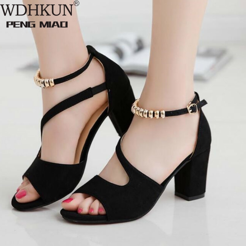 Vintage Hollow Out Sandals Mid Heel Summer Slip-on Buckle Ladies Shoes Artificial Open Toe Casual Wedding Pumps Women Sandalias