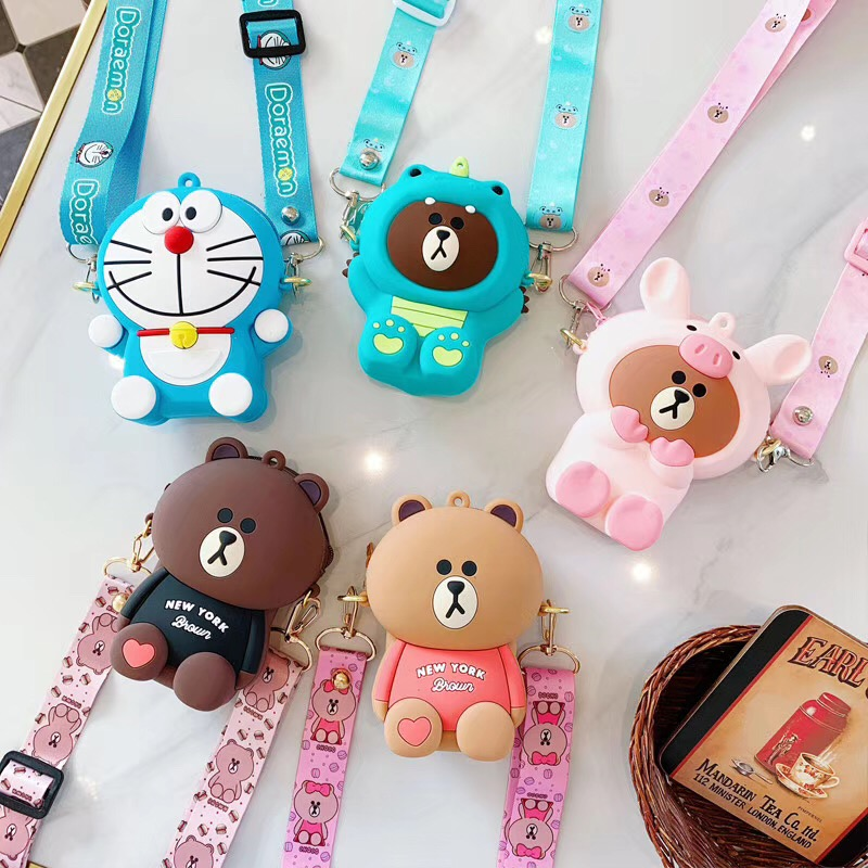 New Coin Purse Fresh Mini Change Storage Bag Creative Cartoon Key Case Ladies Wallet Kawaii Wallet Bag Silicone Pouch With Strap