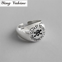 ying Vahine 100% 925 Sterling Silver Vintage Style Skeleton Open Rings for Women
