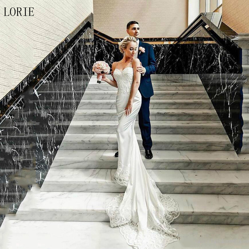 LORIE Mermaid Wedding Dresses 2019 Vestidos De Novia Spaghetti Strap Vintage Lace Wedding Bride Dress Backless Wedding Gowns
