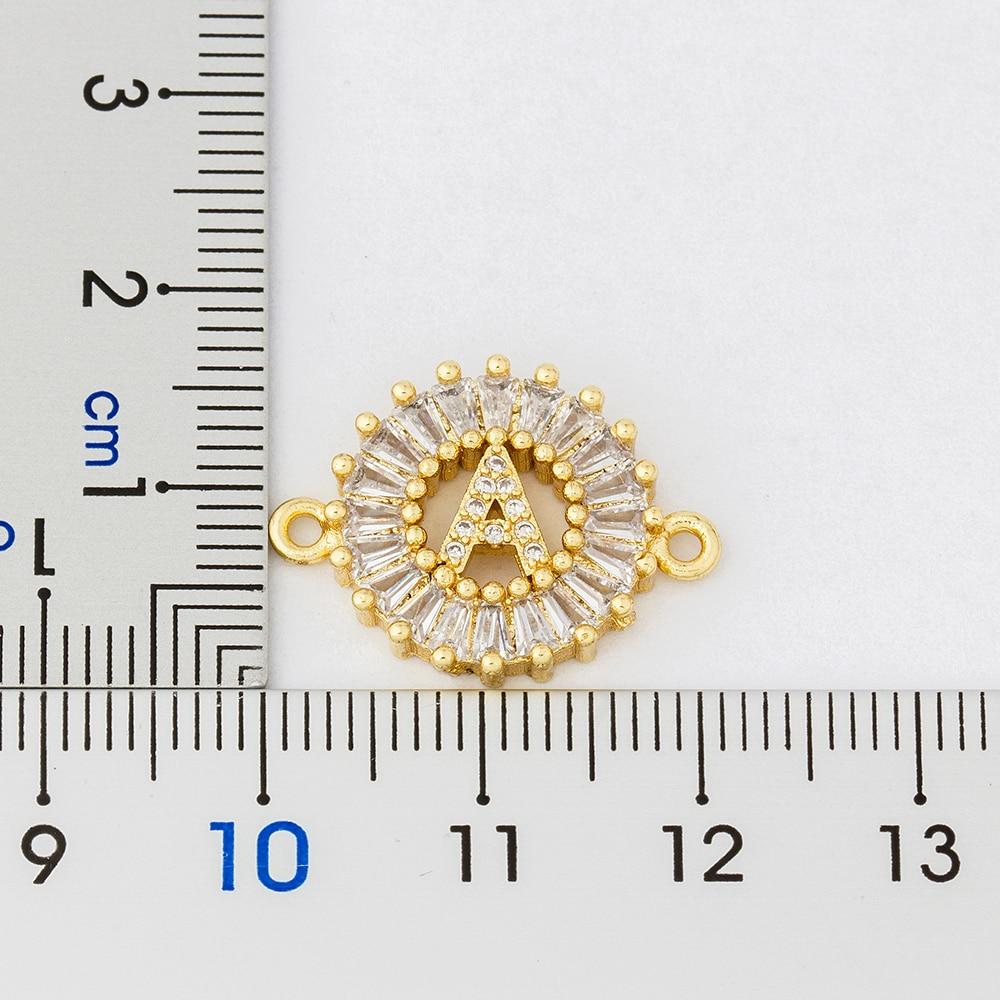 Vendita calda A-Z iniziale rame pavimenta impostazione zircone cubico lettera braccialetti con ciondoli catena regolabile per gli amanti delle donne miglior regalo di gioielli 2