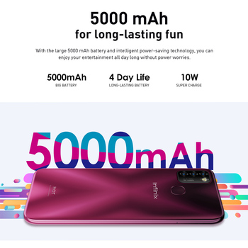 Global Version Infinix Hot 10 Lite X657C 6.6''HD+ 2GB 32GB 1600*720 5000mAh 13MP Triple Camera 10WCharger Helio A20 Mobile Phone 2
