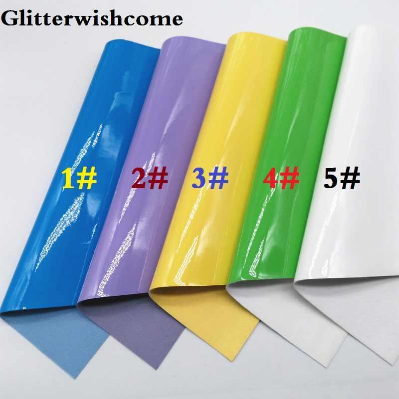Glitterwishcome 21X29CM A4 גודל ויניל עבור קשתות חלק פטנט עור Fabirc פו עור גיליונות עבור קשתות, GM121A