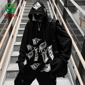 Image 4 - 2019 Dropshipping Çift Hoodie Erkekler Dolar Baskı Sonbahar Kış Hip Hop Ekstra Büyük Rahat Harajuku Uzun Kollu Kazak