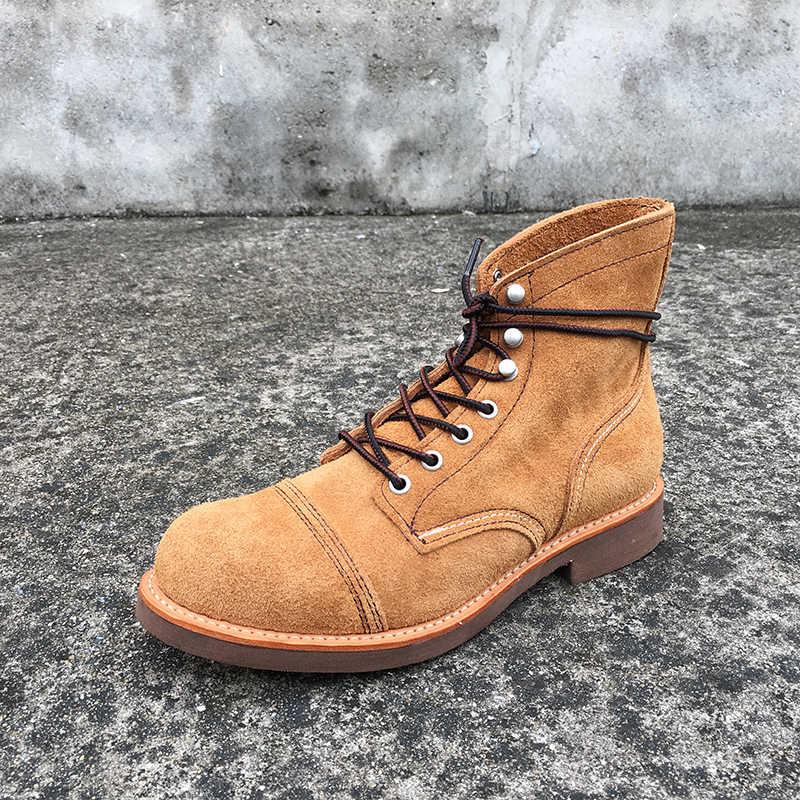 Sonbahar kış yeni tasarımcı Vintage hakiki deri kanatları erkek ayakkabısı Goodyear Welted kırmızı erkekler yarım çizmeler iş motosiklet botları