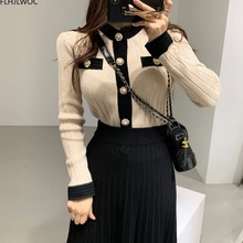 Knitted Sweater Cardigan Street-Style Korean Womens Fashion Single-Breasted-Button Winter