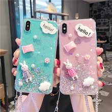 Cute Rabbit Crystal Lanyard Glitter Case For Vivo Y85 X27 Pro V11i X21i Y66 Y67 Y75 Y79 Y93 Y97 X9 X20 V7 Plus Nex Cover