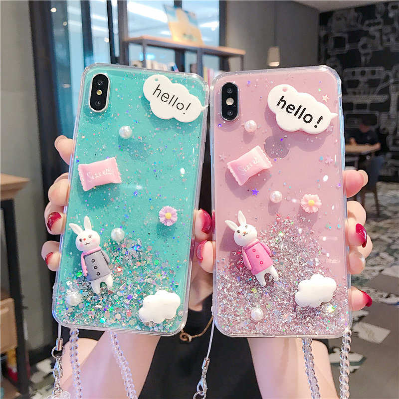 Cute Rabbit Flower Crystal Lanyard Glitter Stars Case For Samsung Galaxy S8 S9 S10 Plus Back cover Note 8 9 cases