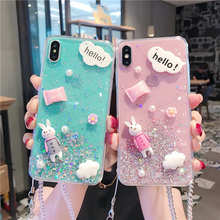 Cute Rabbit Flower Crystal Lanyard Glitter Stars Case For iphone XR X XS Max Back cover 6 6S 7 8 Plus S Phone cases