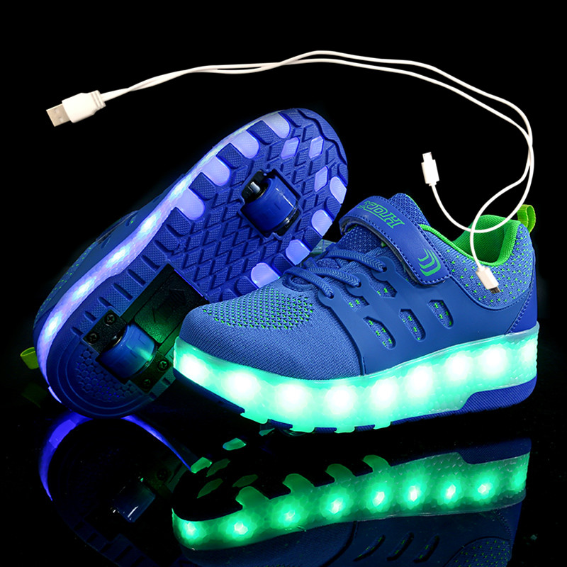 Children Two Wheels Luminous Glowing Sneakers Red Pink Blue Led Light Roller Skate Shoes Kids Led Shoes Boys Girls USB Charging