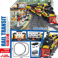 1464pcs 2019 Technic Battery Powered Electric LegoINGlys City Train Rail Building Blocks Bricks Christmas Gift Toys for Children