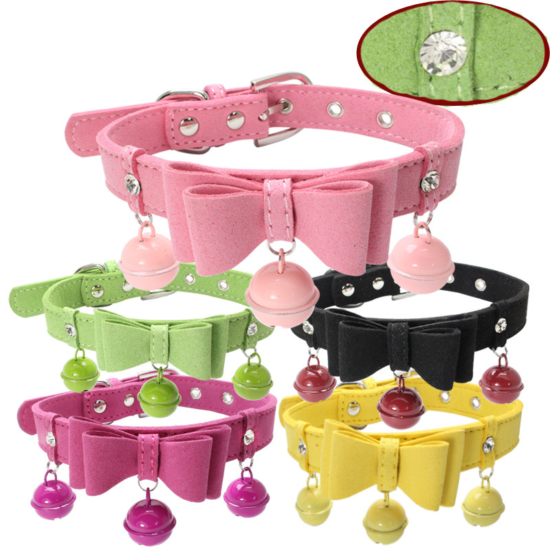 Berry Man-made Diamond Bow Bell Dogs And Cats Pet Collar Double Layer Suede Comfortable Dogs And Cats With Large Amount