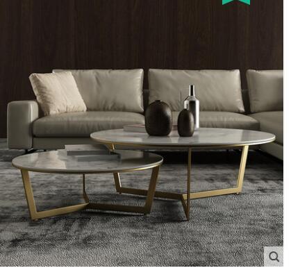Скандинавский Мраморный Круглый Чайный Столик Современный Простой Круглый Чайный Столик сочетание простой и легкий роскошный мраморный чайный столик комбинация - Цвет: 3