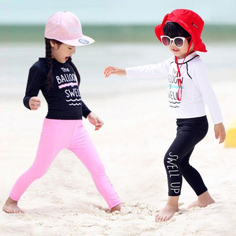 KID'S Swimwear BOY'S Swimming Trunks Set GIRL'S Big Boy Split Type Tour Bathing Suit Baby Long Sleeve Sun-resistant Swimwear