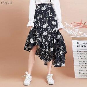 Image 1 - ARTKA 2020 Spring New Women Skirt Fashion Cat Print Skirt Irregularly Design Chiffon Skirts Elegant Ruffled Skirt Women QA15297Q