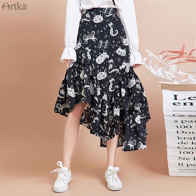 ARTKA 2020 Spring New Women Skirt Fashion Cat Print Skirt Irregularly Design Chiffon Skirts Elegant Ruffled Skirt Women QA15297Q