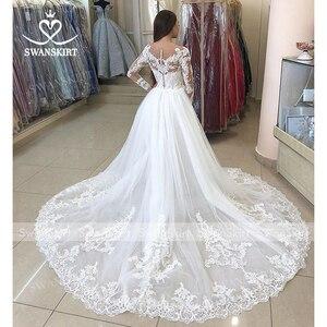 Image 5 - Sexy Mermaid Wedding Dress Detachable Train Swanskirt 2 in 1 Bride Gown Sweetheart Appliques Long Sleeve vestido de noiva LZ06
