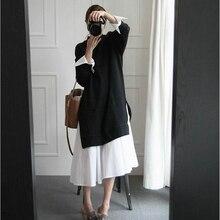 Осенняя мода для беременных; Новинка года; рубашка с длинными рукавами; платье-свитер для беременных женщин